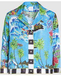 Stella Jean Hawaiian Print Cropped Button-up Organic Cotton Bowling Shirt - Blue