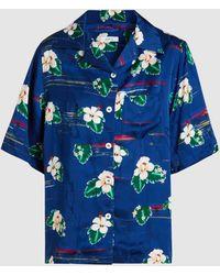Racil Short-sleeve Hawaii Flower Print Button-front Shirt - Blue