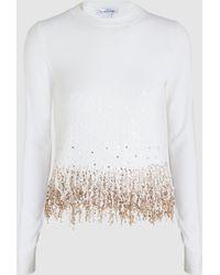 Oscar de la Renta Embellished Wool Sweater - White