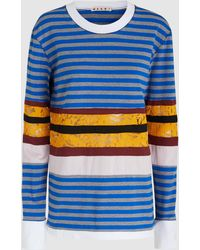 Marni - Lace-trimmed Striped Cotton Top - Lyst