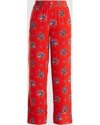 Ganni Kochhar Floral Silk Pants - Red