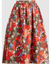 Marni Rose Print Cotton Midi Skirt - Red