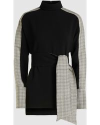 ‎LAYEUR‎ Belted High Neck Chequered Viscose Tunic - Black
