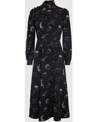 Co. Printed Silk Long Sleeve Midi Dress - Black