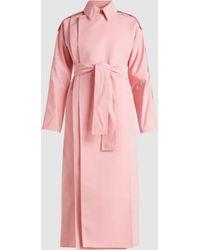 Maison Rabih Kayrouz - Long Sleeve Cotton-blend Belted Coat - Lyst