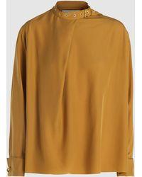 Marques'Almeida Buckle-neck Silk Blouse - Metallic