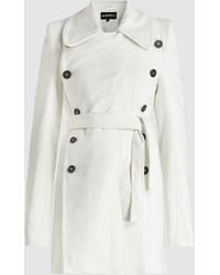Ann Demeulemeester Belted Linen And Cotton-blend Coat - White