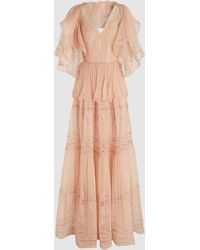 Alberta Ferretti Tiered Ruffled Broderie Anglaise Maxi Dress - Pink
