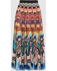 Mary Katrantzou Pleated Marble Print Skirt - Multicolor