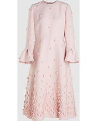 Valentino Embellished Wool Blend Midi Dress - Pink