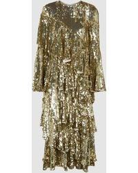 OSMAN Diaz Tiered Sequinned Gown - Metallic