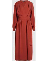 JOSEPH - Mati Cady Wrap Midi Dress - Lyst
