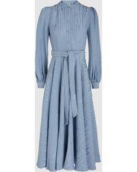Co. Watermark Satin-jacquard Midi Dress - Blue