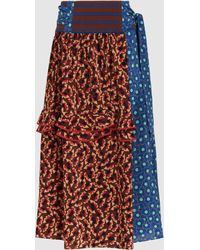 Marni - Printed Silk-crepe Midi Skirt - Lyst