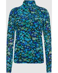 Ganni Printed Mesh Top - Blue