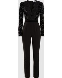 b6b58108eb51 Self-Portrait - Guipure Lace-trimmed Embellished Velvet And Crepe Jumpsuit  - Lyst