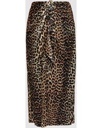 Ganni Leopard Print Wrap Front Skirt - Multicolor
