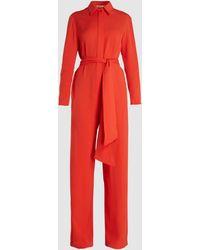 LAYEUR Watson Long-sleeve Viscose-blend Jumpsuit - Red