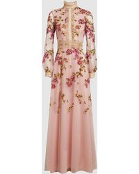 Costarellos Mock Neck Floral Embroidered Tulle Gown - Pink