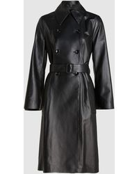 JOSEPH Romney Nappa Leather Trench Coat - Black