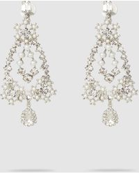 Erickson Beamon Crystal And Faux Pearl Drop Pendant Earrings - Metallic