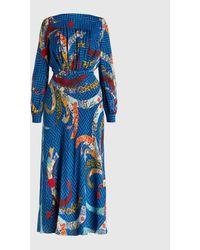 Stella Jean Printed Crepe Midi Dress - Blue