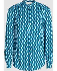 Cefinn - Geometric Print High Collar Viscose Shirt - Lyst