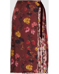 Mother Of Pearl Mittie Pleated Printed Silk-chiffon Midi Skirt - Red