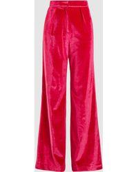 Self-Portrait Wide Leg Velvet Pants - Pink