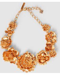 Oscar de la Renta - Blooming Bold Flower Gold-tone Necklace - Lyst