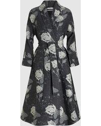 Co. Floral Jacquard Wool-blend Wrap Dress - Gray