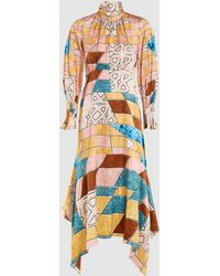 Peter Pilotto Scarf Neck Printed Silk Midi Dress - Multicolor