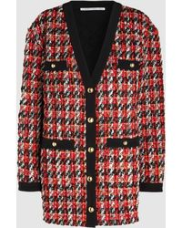 Alessandra Rich Oversized Houndstooth Bouclé-tweed Cardigan - Red