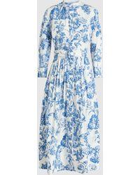 Oscar de la Renta - Floral Belted Cotton Midi Dress - Lyst