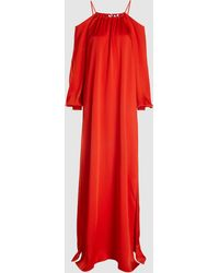 Rosetta Getty Open-shoulder Satin-crepe Gown - Red