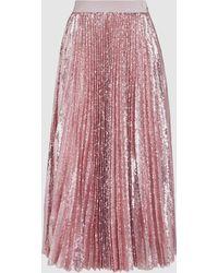 MSGM - Pleated Sequinned Midi Skirt - Lyst