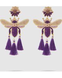Mercedes Salazar - Volador Purpura Fringe Drop Earrings - Lyst