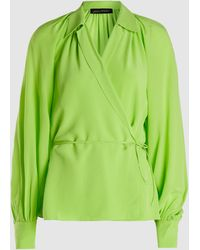 Anna October Long Sleeve Silk Wrap Blouse - Green