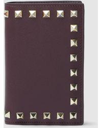 Valentino Valentino Garavani Rockstud Leather Card And Coin Purse - Purple