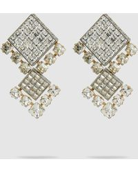 Lanvin - Square Crystal Bling Earrings - Lyst