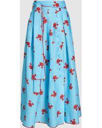 Gül Hürgel Crab Print Tie-waist Linen Midi Skirt