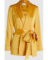 Racil Angel Tie-waist Satin Blazer - Yellow