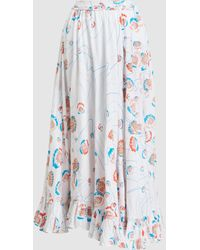 All Things Mochi Long Floral Print Skirt - White
