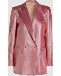 Blazé Milano Diva Double-breasted Metallic-stripe Blazer - Pink