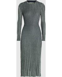 Cedric Charlier Rib Knit Metallic Viscose Midi Dress