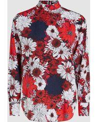 Cedric Charlier - Floral Print Long Sleeve Top - Lyst