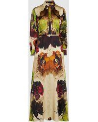 Co. Printed Long Sleeve Silk Maxi Dress - Multicolor