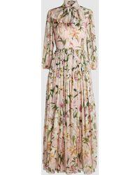 Dolce & Gabbana Lily-print Silk-chiffon Gown - Pink
