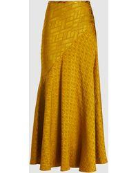 LAYEUR Evelyn Bias-cut Draped Viscose Skirt - Yellow