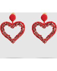 Oscar de la Renta - Jeweled Heart Clip On Earrings - Lyst